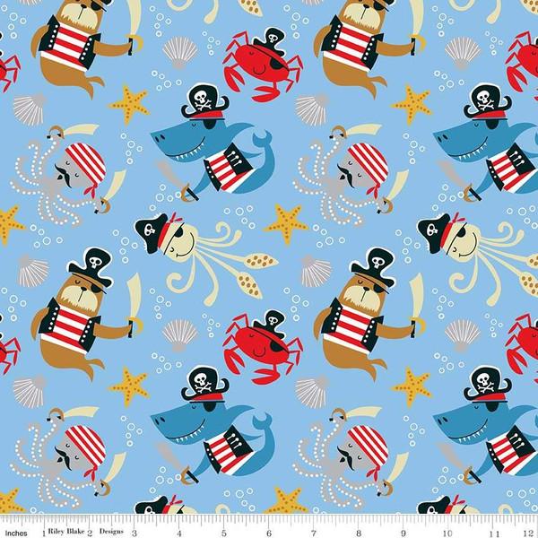 Flannel Prints : Sea Creatures - Main (Blue)