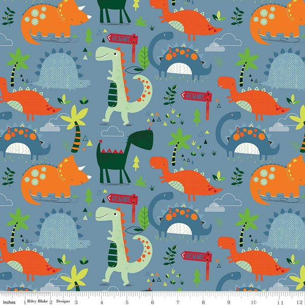 Flannel Dinosaurs Main Blue
