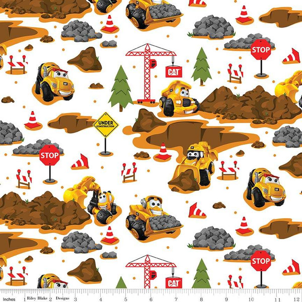 Flannel: Caterpillar Construction Scene on White:  CAT® Buildin' Crew by Riley Blake
