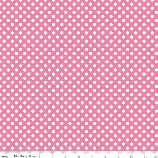 Stretch Jersey Knit Small Dot Hot Pink Fabric by Riley Blake