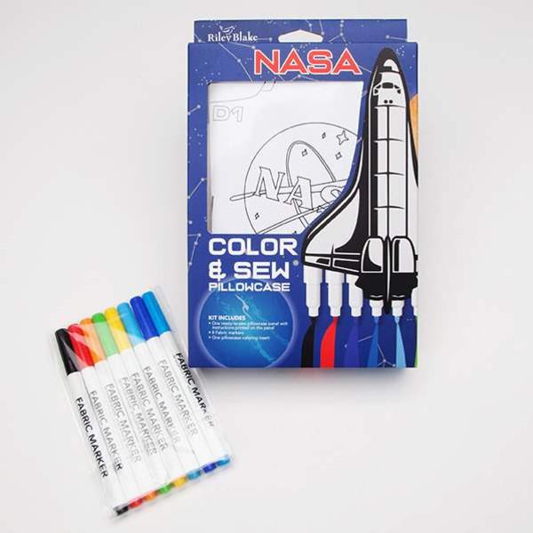 NASA Color Me Pillowcase Kit by Riley Blake