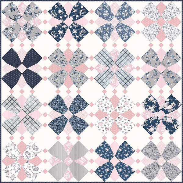 Whirly Blooms Quilt Kit including Pattern and Majestic Fabrics 70 x 70 inches