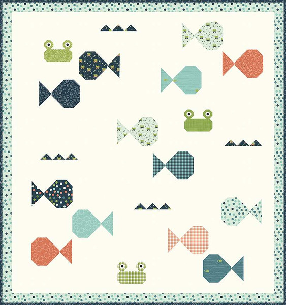 Sandy Gervais Fish Academy Quilt Pattern, charm pack friendly, P157