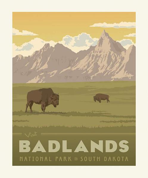 National Parks Poster Panel Badlands