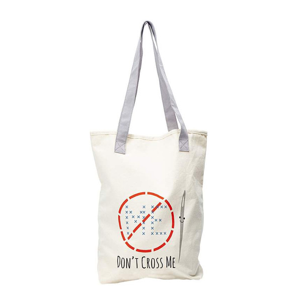 Kelli Fannin Sew Chatty Punny Canvas Tote Bag Don't Cross Me