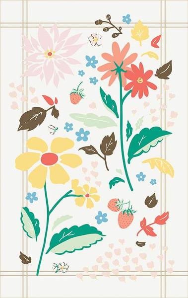 Bunnies & Cream, Cream Strawberries & Floral Tea Towel/Lauren Nash