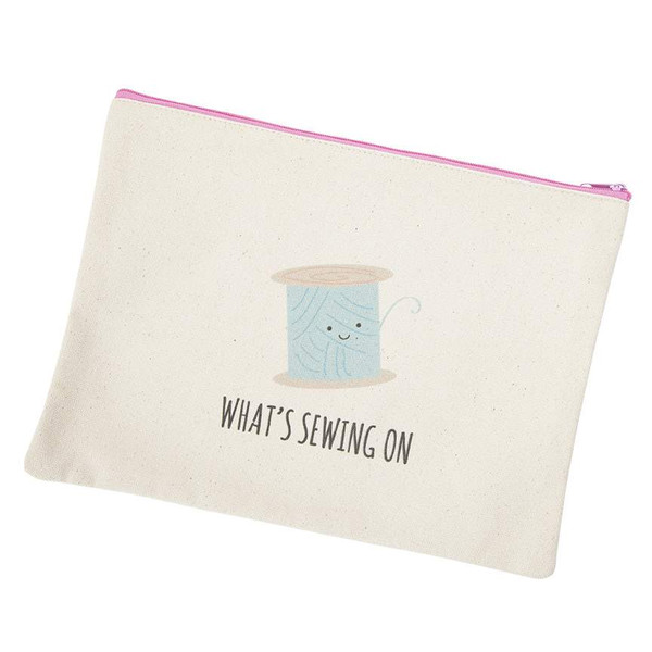 Kelli Fannin Sew Punny Small Canvas Bag What's Sewing On