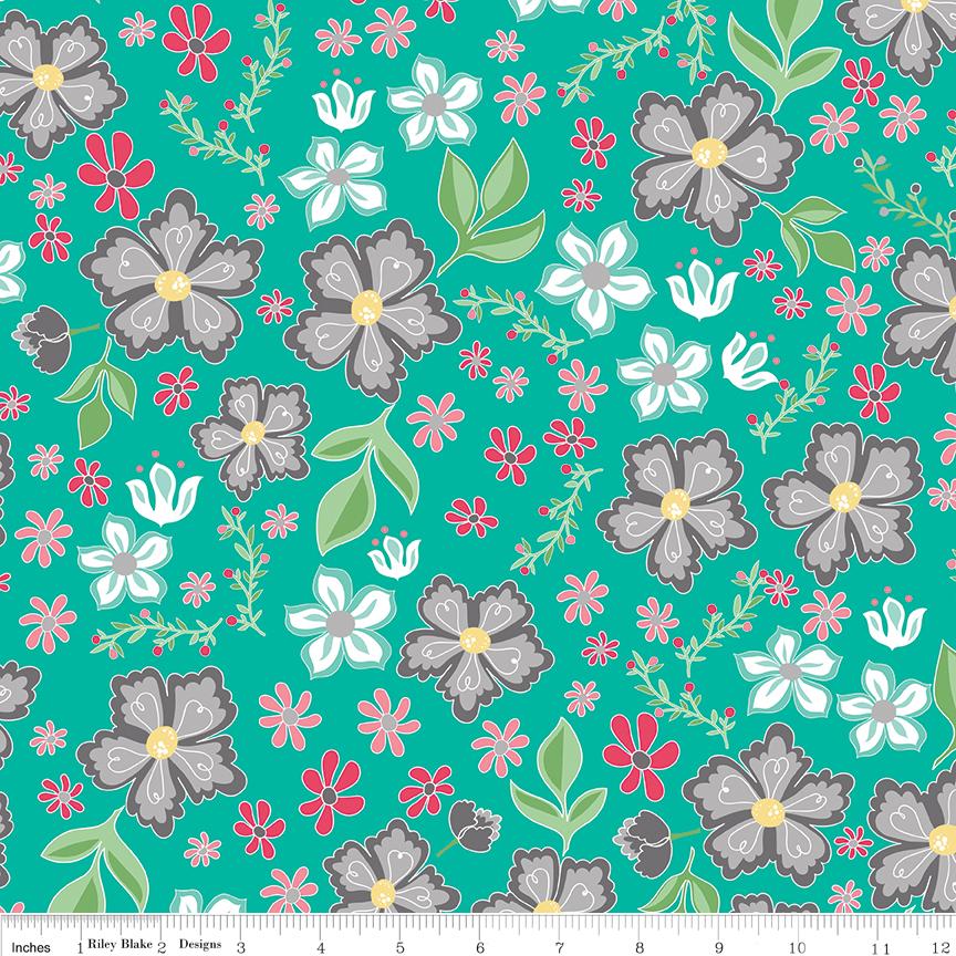 Random Sized Flowers on Green - Flora and Fawn by Amanda Herring for Riley Blake Fabrics