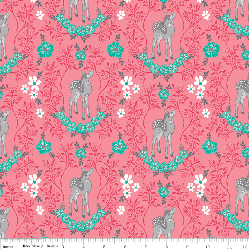 Gray Fawn with Green Flowers on Pink - Flora and Fawn by Amanda Herring for Riley Blake Fabrics