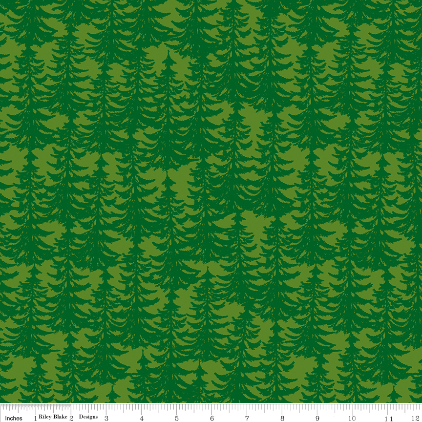 Outdoors C6754 Trees Light Green
