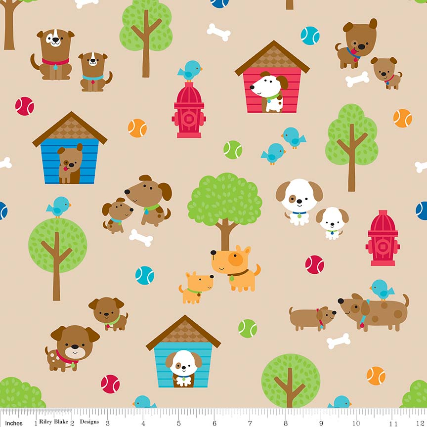 Puppies Playing on Tan: Puppy Love by Doodle Bug Design for Riley Blake