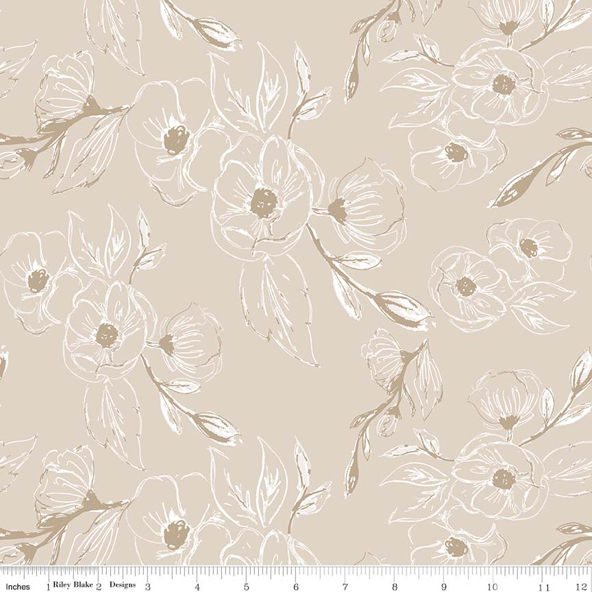 C7121 Tan Grandale Carnation by Keera Job for Riley Blake Designs. 100% cotton 43 wide