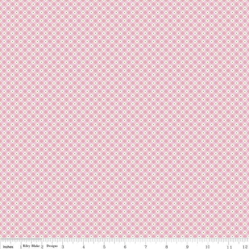 Mon Beau Jardin- pink & white check