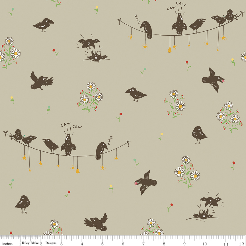 C7301 Calico Crow Crowded by Lauren Nash for Penny Rose Fabrics. 100% cotton 43 wide