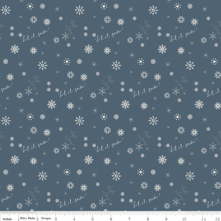 Fat Quarter Print Winter Tales Snowflake Blue