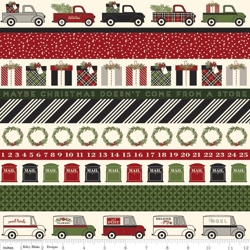 Christmas Delivery Stripe Black