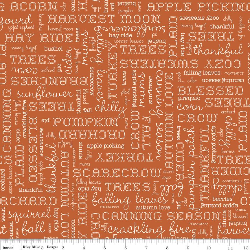 Autumn Love Text Orange - C7361-ORANGE