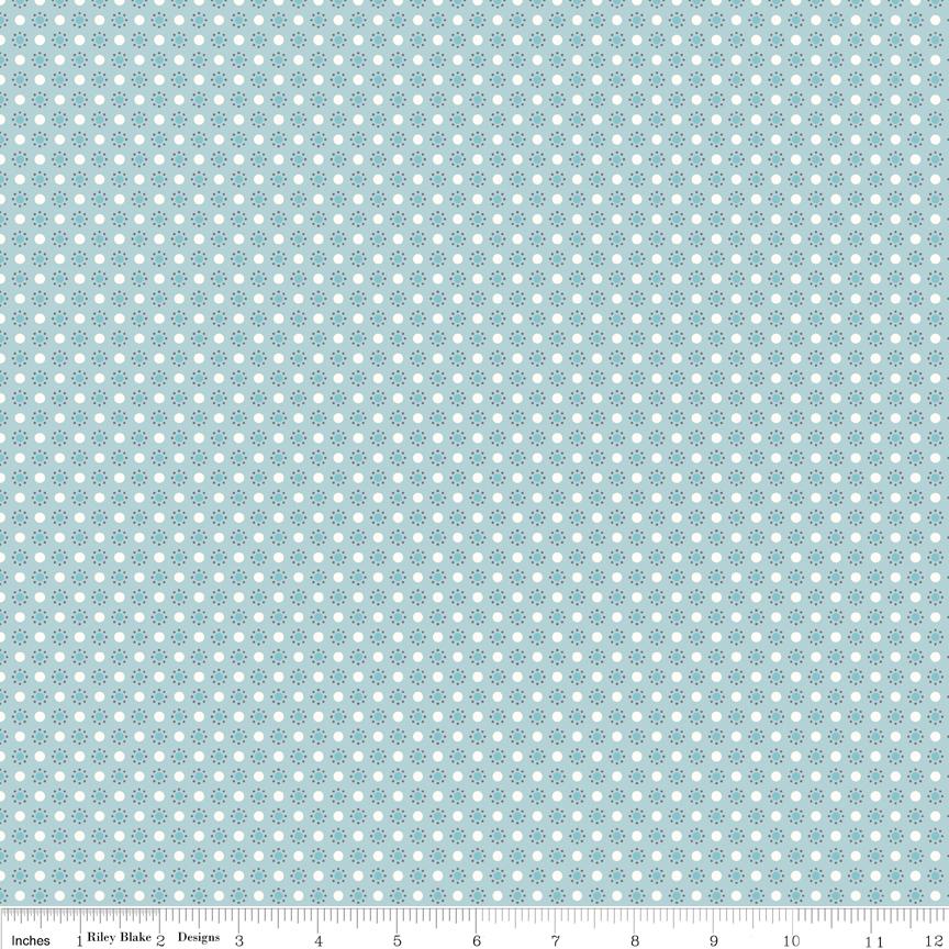 Autumn Love Polka Dots Blue C7367