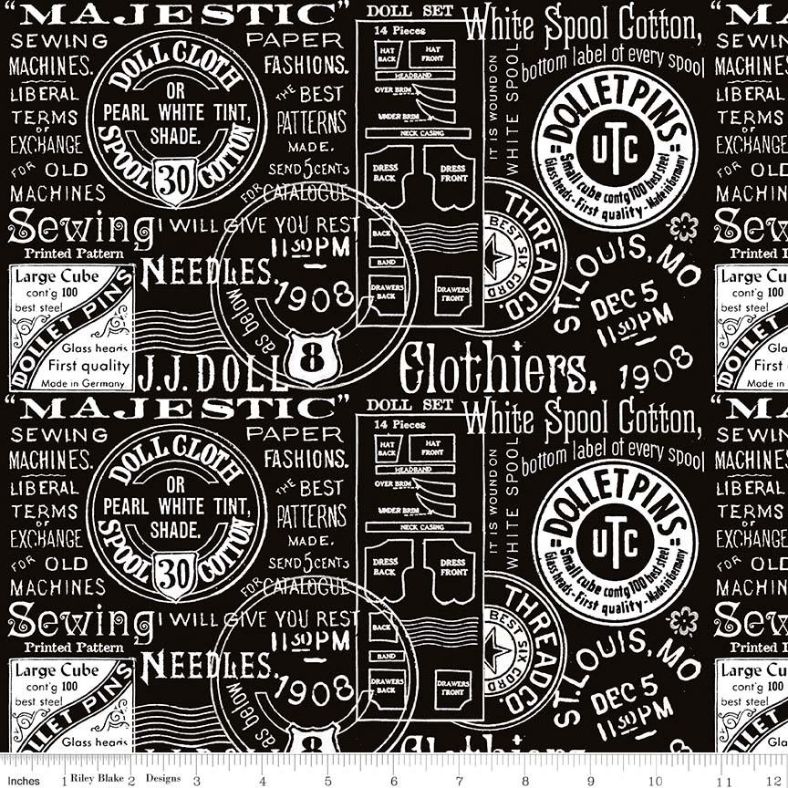 C7563 Paperdoll Text Black by J. Wecker Frisch for Riley Blake Designs. 100% cotton 43 wide