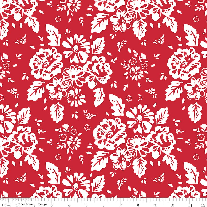 So Ruby - Floral Red C7690-red