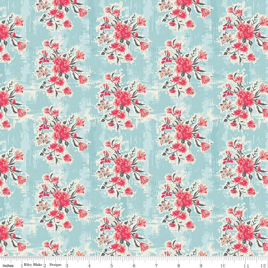 Abbie Floral Aqua C7711