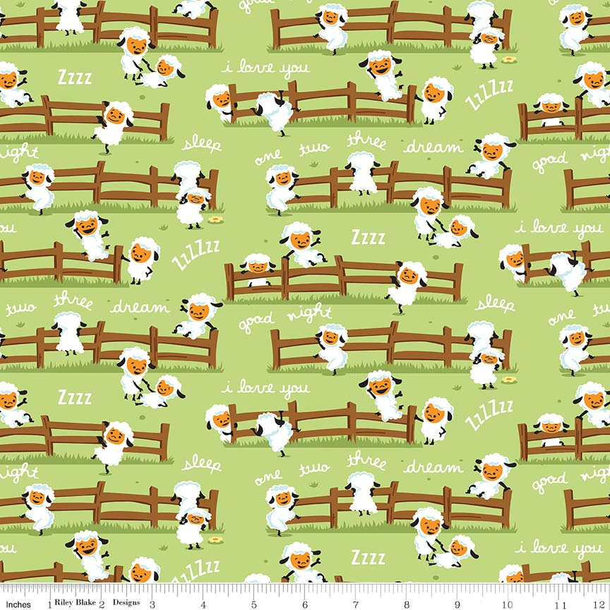 Harmony Farm Sheep Dream Green Flannel