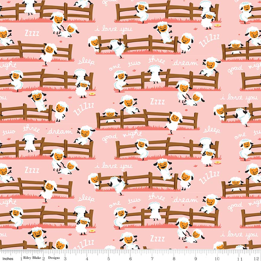 Harmony Farm Sheep Dream Pink Flannel