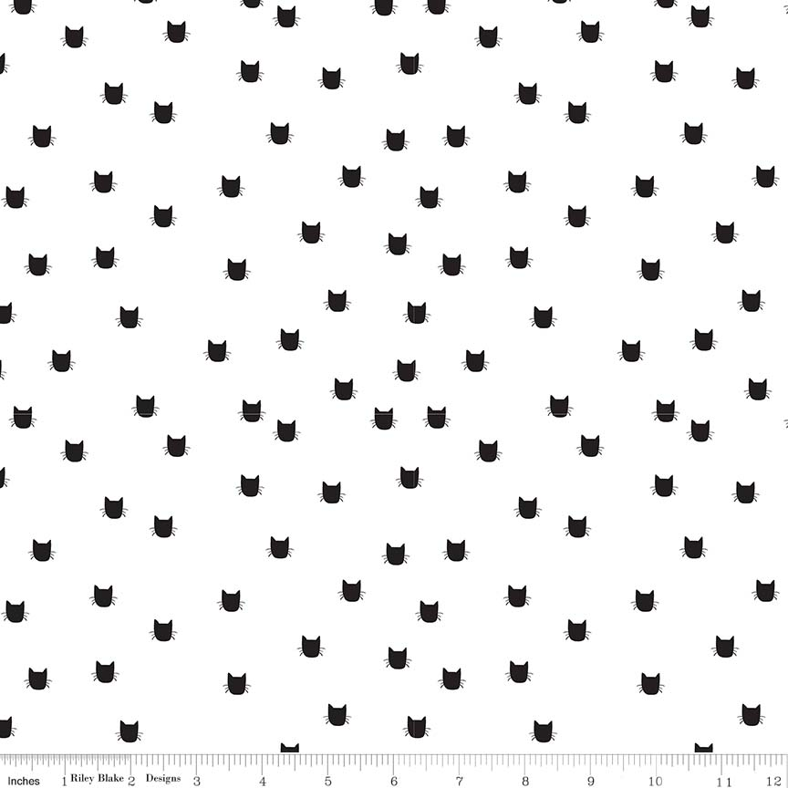 Flannel: Black Cat Heads on White:  Meow by My Mind's Eye for Riley Blake Fabrics