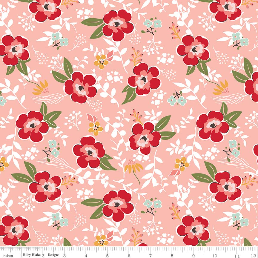 Sweet Prairie Main Coral Flannel