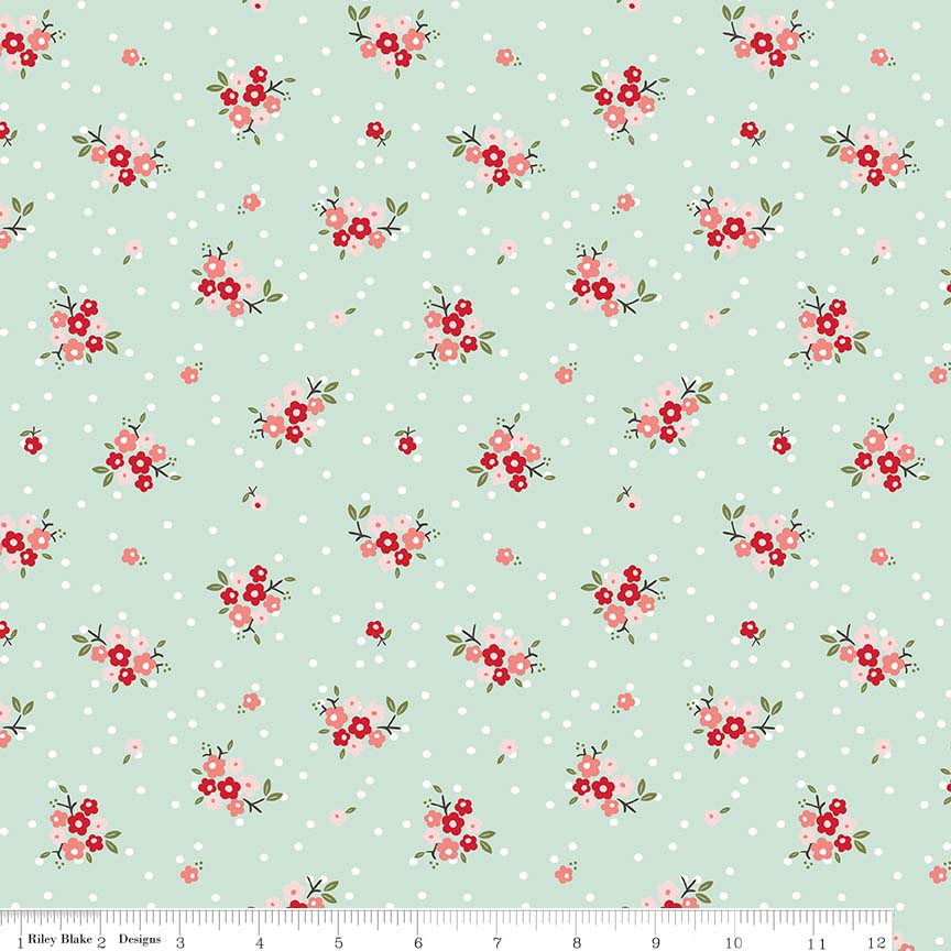 Sweet Prairie Posies Mint Flannel