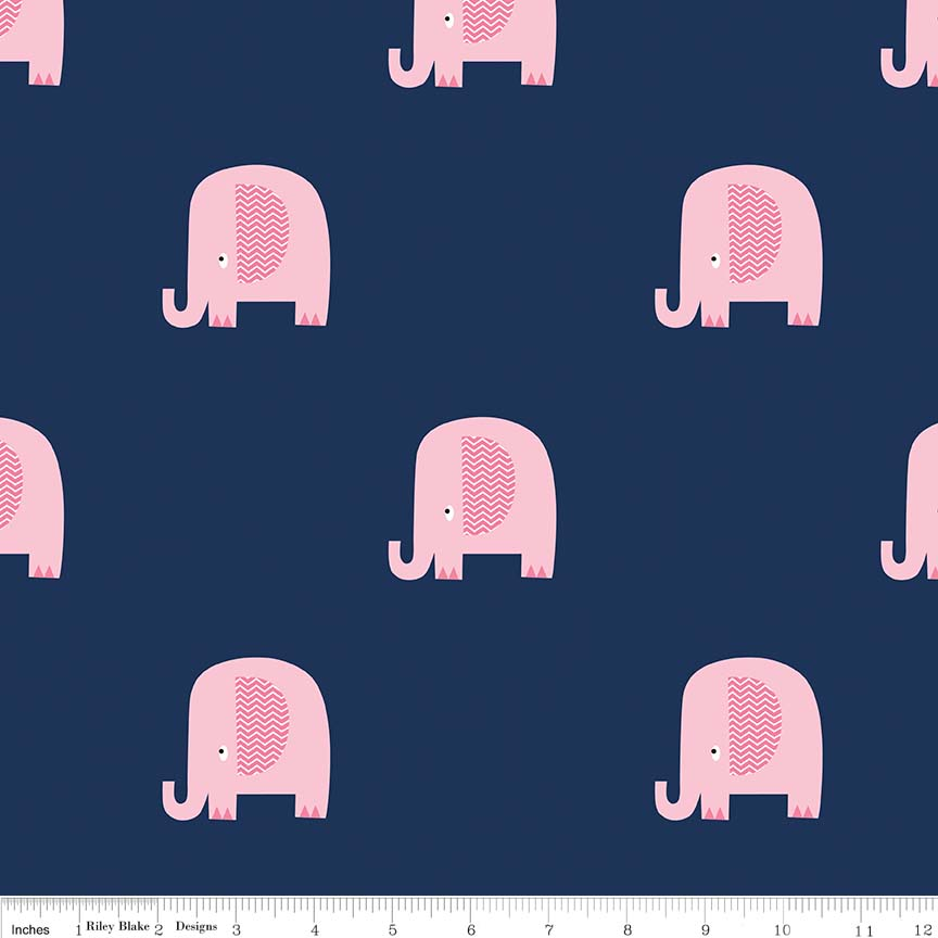 Elephant Navy/Pink Flannel by Riley Blake Designs