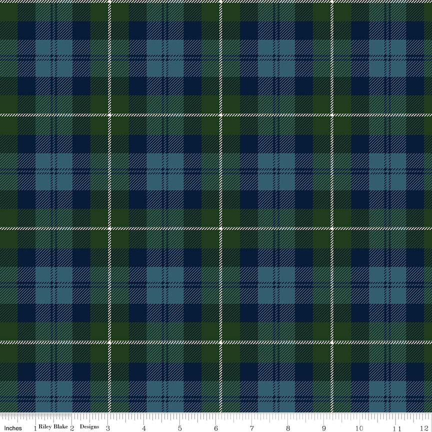 Designer Flannel - Plaid Green/Navy