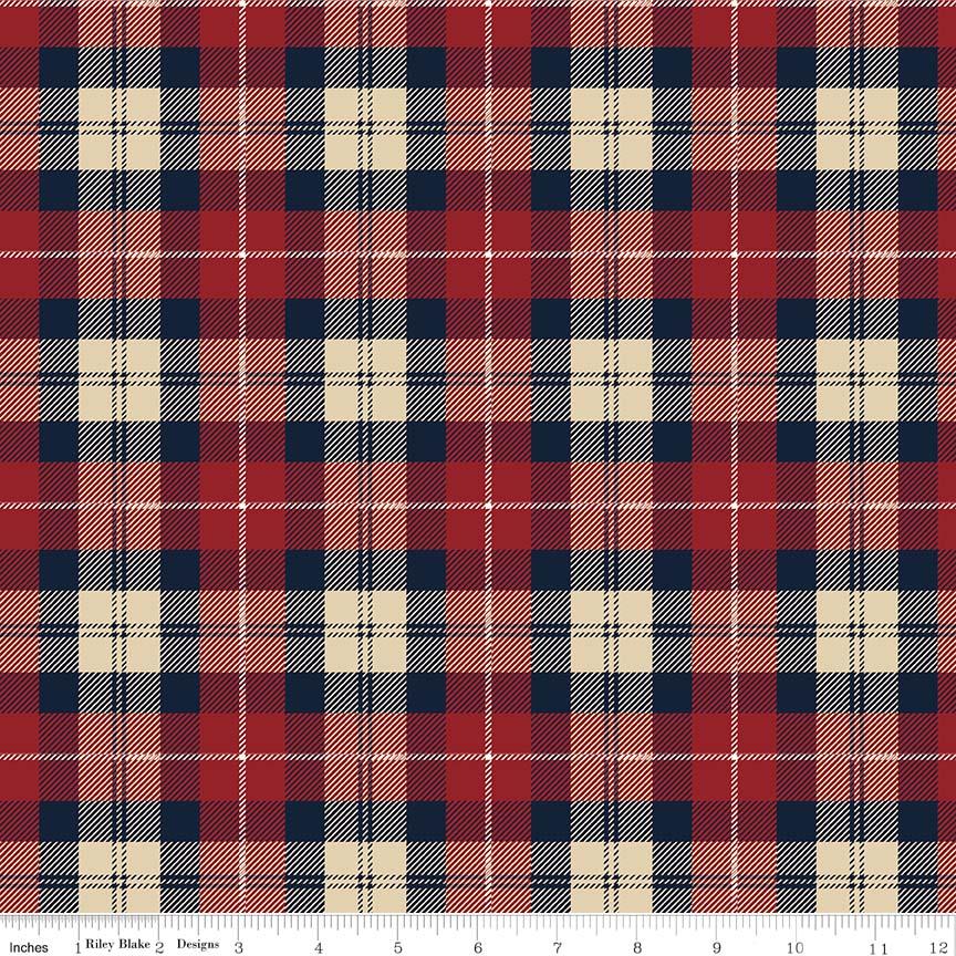 Designer Flannel - Plaid Red/Navy
