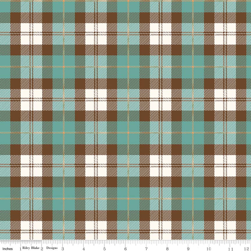 Designer Flannel - Plaid Teal/Brown