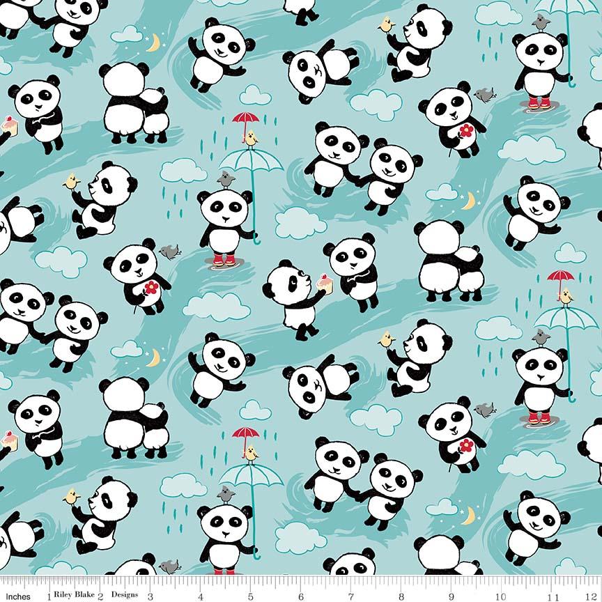 Panda Love - Toss Aqua Flannel