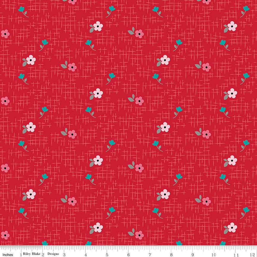 Panda Love - Floral Red Flannel