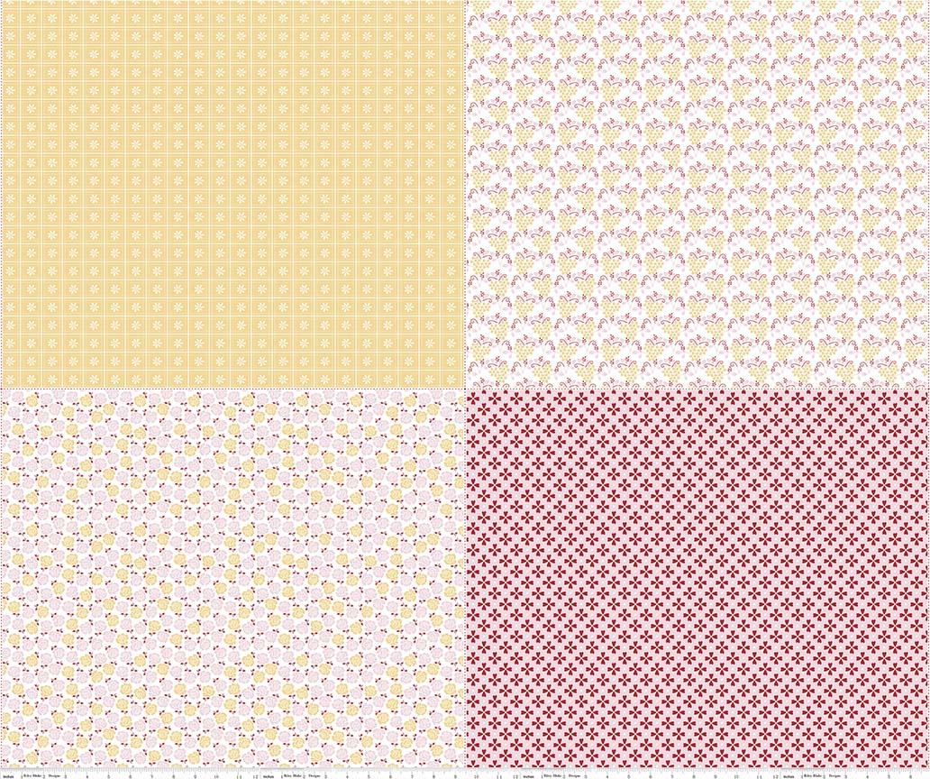 Sew Cherry 2 Fat Quarter Panel Yellow