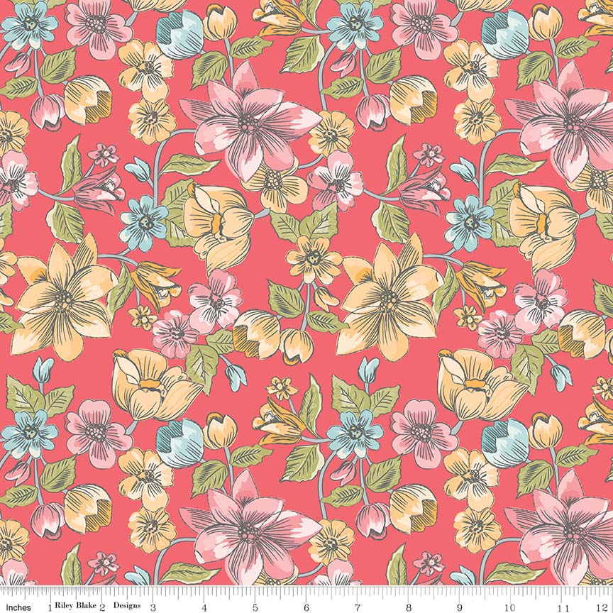 LW6340 RED  LINEN & LAWN COLLECTION BY SUE DALEY DESIGNS FOR PENNY ROSE FABRICS