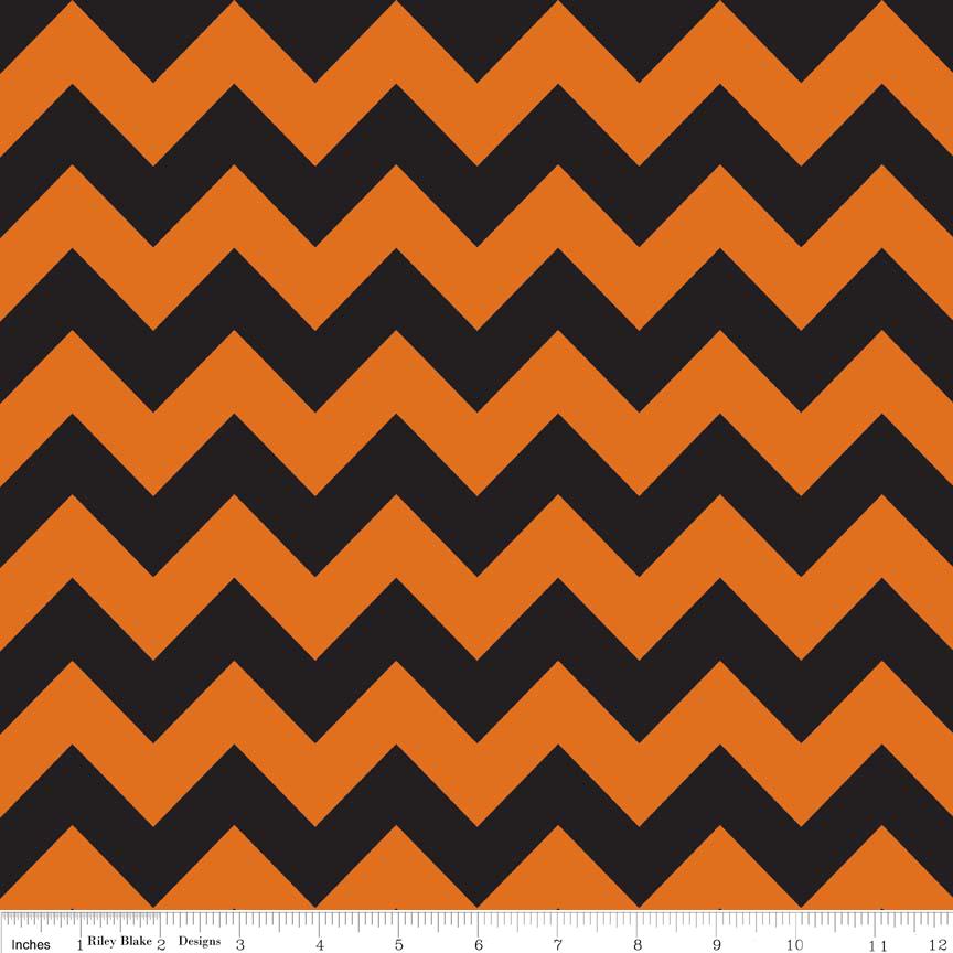 Medium Chevron Orange/Black by Riley Blake C380-02