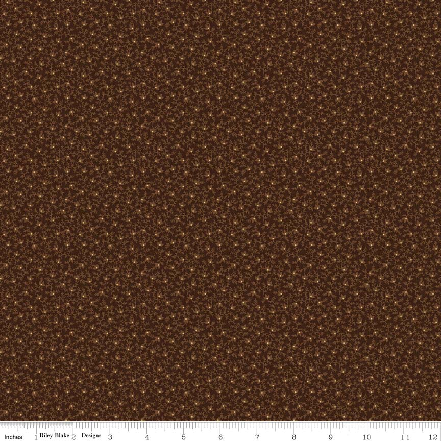 MODA HOLLY TAYLOR COUNTRY ROAD EARTH DARK BROWN WITH LITTLE BROWN AND GREEN LEAVES 6664 21