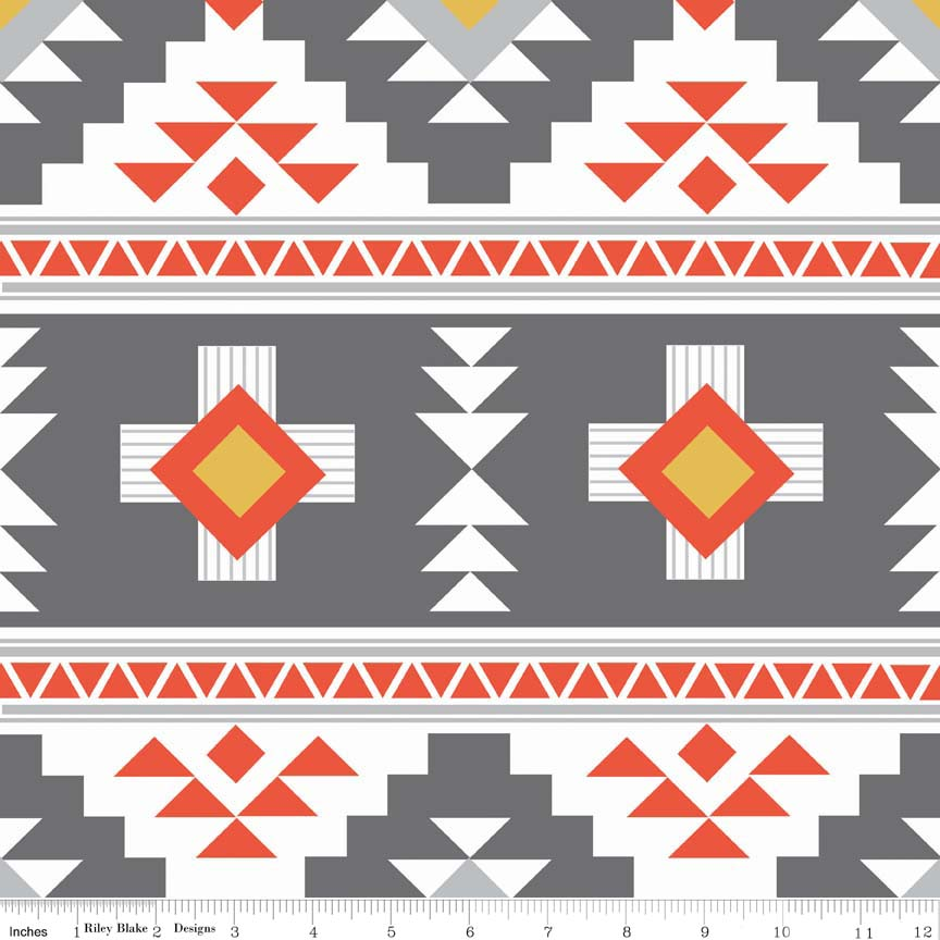 Gray, Orange, Yellow and White Navajo Inspired Geometric Design:  Four Corners by Simple Simon & Co. for Riley Blake