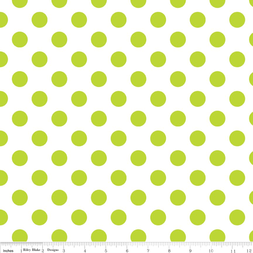 Medium Dots Lime on White