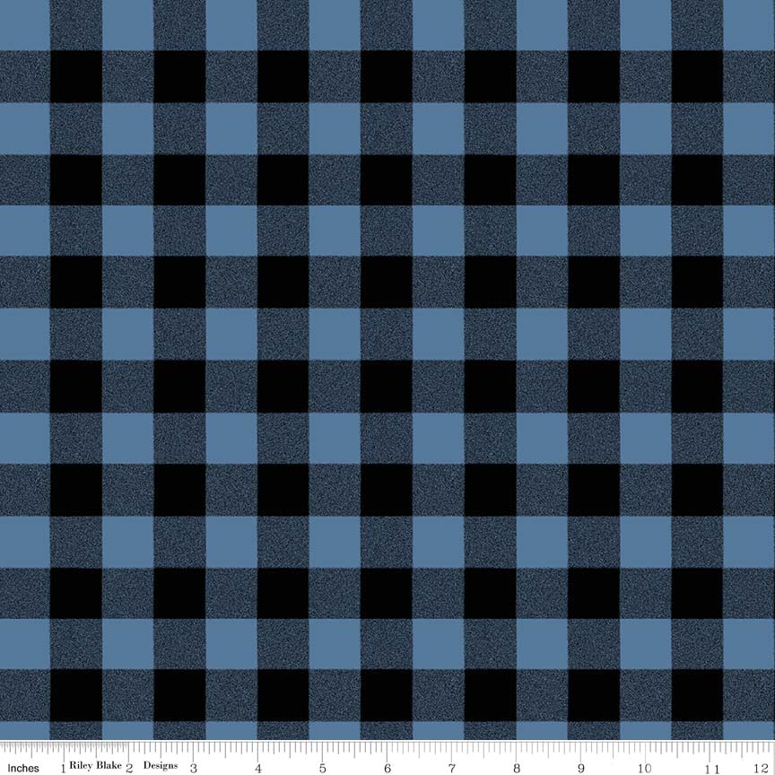 Blue and Black Buffalo Checks:  Paper Dolls by Siblings Art Studio for Penny Rose Fabrics