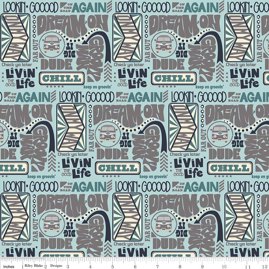 Keep on Groovin' - Words on Light Blue - for Riley Blake Designs