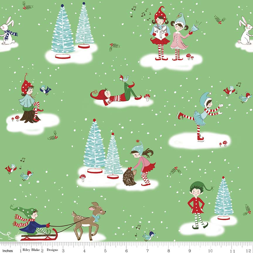 Christmas Pixies in Various Scenes on Green: Pixie Noel by Tasha Noel for Riley Blake