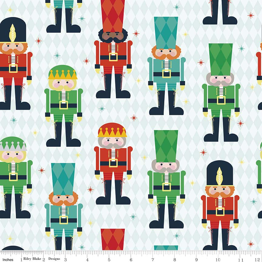 Nutcracker Christmas on Aqua by Riley Blake Fabrics