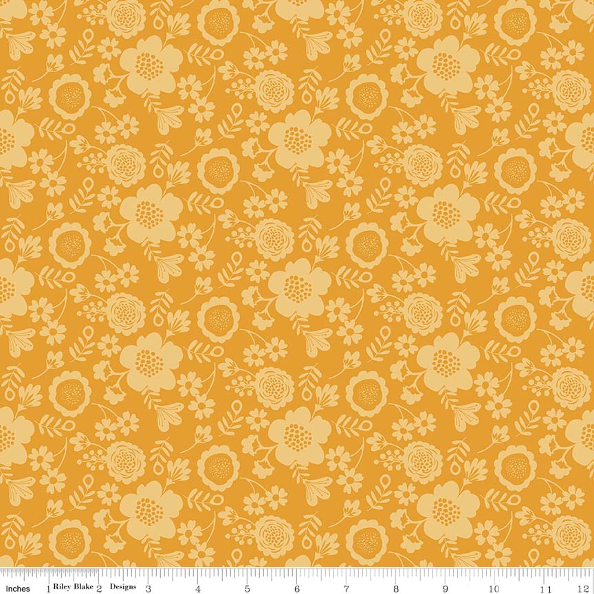 Yellow Flower Petals: Wistful Winds  by Doohikey Designs for Riley Blake Designs