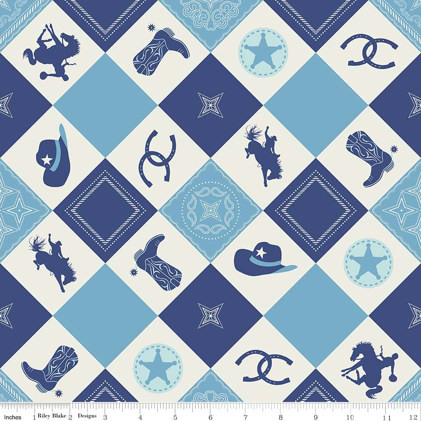 Cowboy Boots, Hats, and Horse shoes on Blue Diagonals:  Cowboy by Samantha Walker for Riley Blake Designs