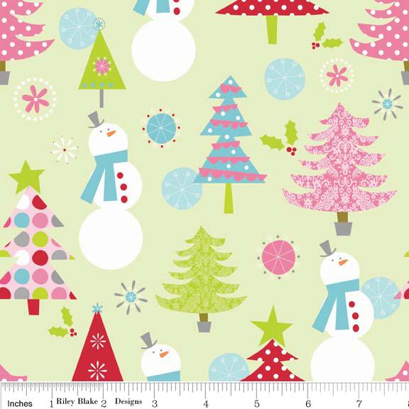 Christmas Trees and Snowmen on Light Green:  Christmas Basic by Riley Blake