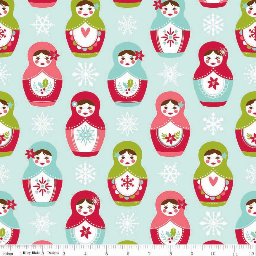 Flannel:  Russian Nesting Dolls on Light Aqua:  Merry Matryoshka by Carly Griffith for Riley Blake Fabrics
